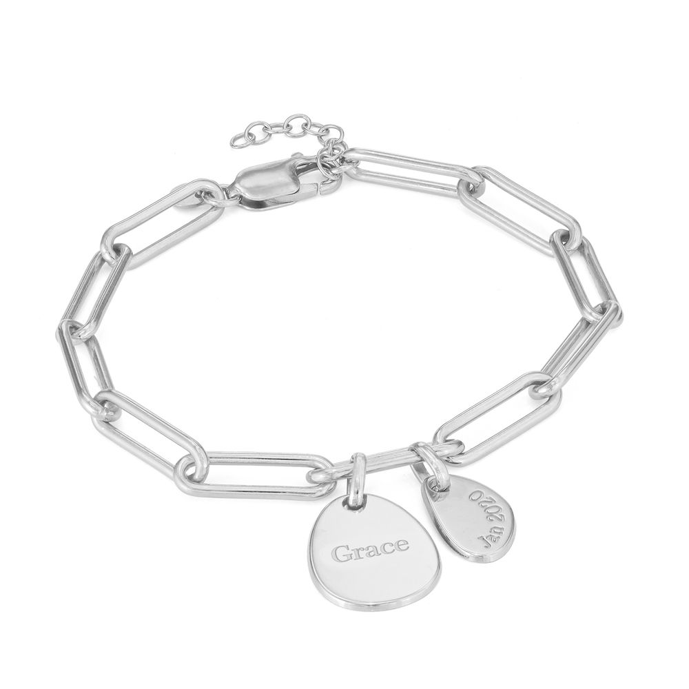 Hazel Paperclip Chain Link Bracelet with Engraved Charms in Sterling Silver - 1