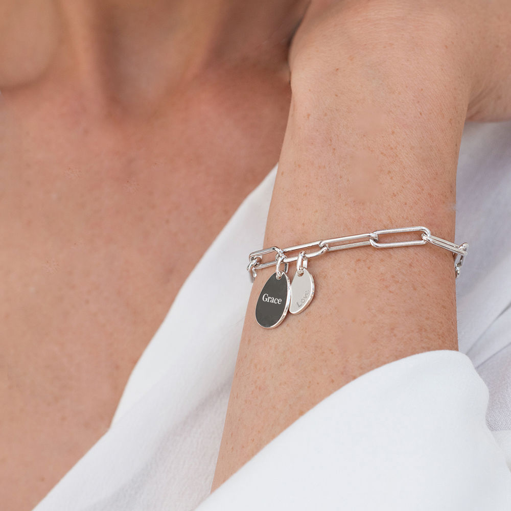 Hazel Paperclip Chain Link Bracelet with Engraved Charms in Sterling Silver - 2