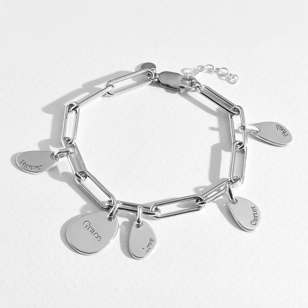 Hazel Paperclip Chain Link Bracelet with Engraved Charms in Sterling Silver - 4