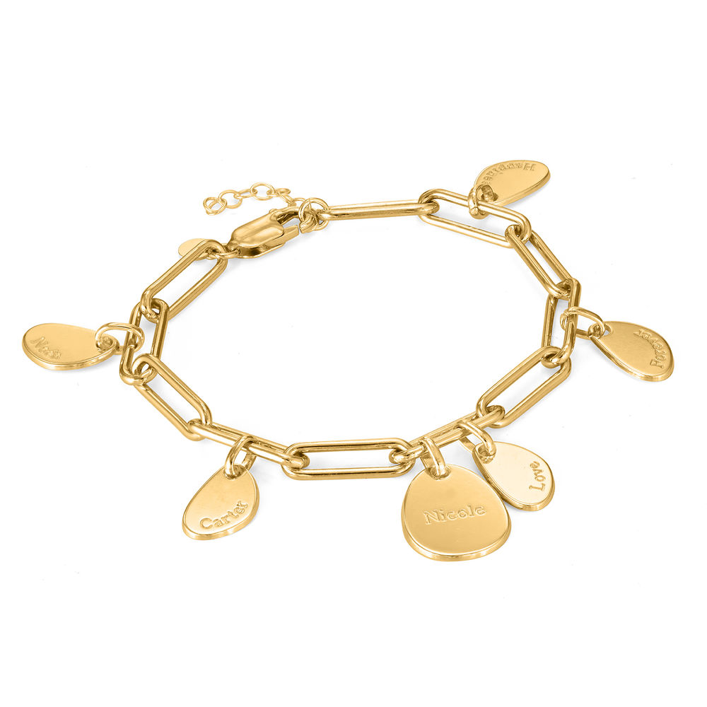 Hazel Personalized Paperclip Chain Link Bracelet  with Engraved Charms in 18K Gold Plating