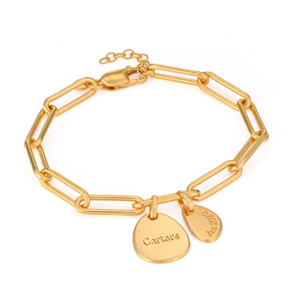 Hazel Personalized Paperclip Chain Link Bracelet  with Engraved Charms in 18K Gold Plating - 1