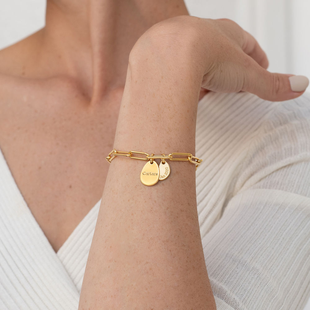 Hazel Personalized Paperclip Chain Link Bracelet  with Engraved Charms in 18K Gold Plating - 2