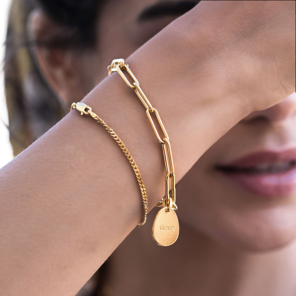 Hazel Personalized Paperclip Chain Link Bracelet  with Engraved Charms in 18K Gold Plating - 3