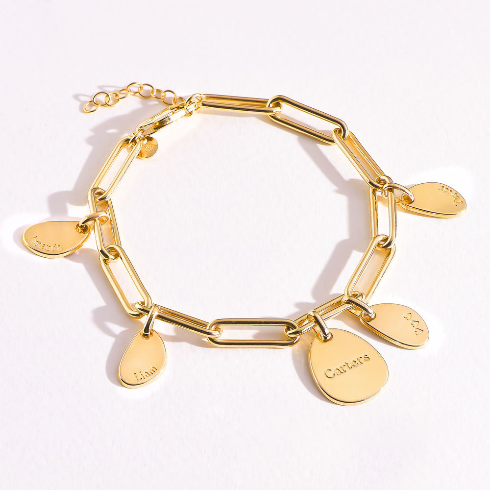 Hazel Personalized Paperclip Chain Link Bracelet  with Engraved Charms in 18K Gold Plating - 4
