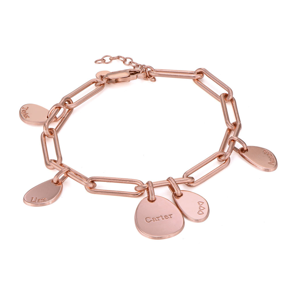Hazel Personalized Paperclip Chain Link Bracelet  with Engraved Charms in 18K Rose Gold Plating