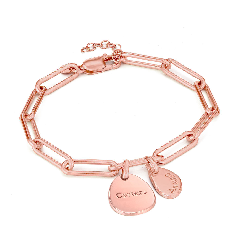 Hazel Personalized Paperclip Chain Link Bracelet  with Engraved Charms in 18K Rose Gold Plating - 1