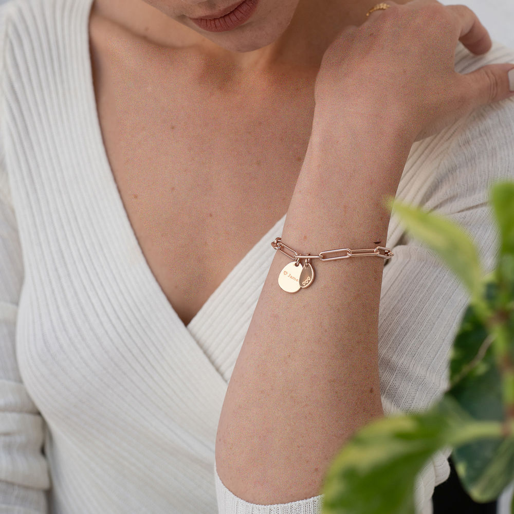 Hazel Personalized Paperclip Chain Link Bracelet  with Engraved Charms in 18K Rose Gold Plating - 2