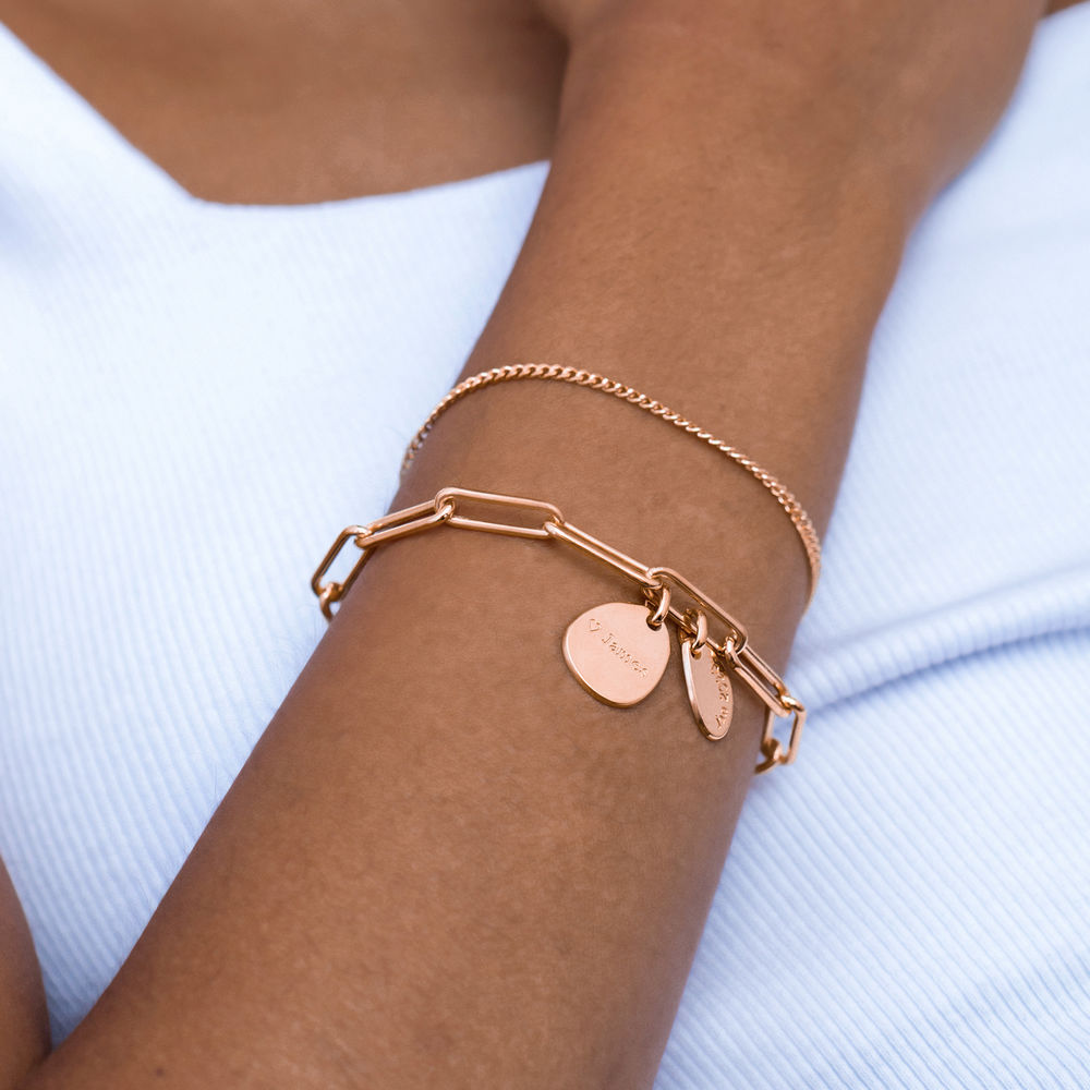 Hazel Personalized Paperclip Chain Link Bracelet  with Engraved Charms in 18K Rose Gold Plating - 3