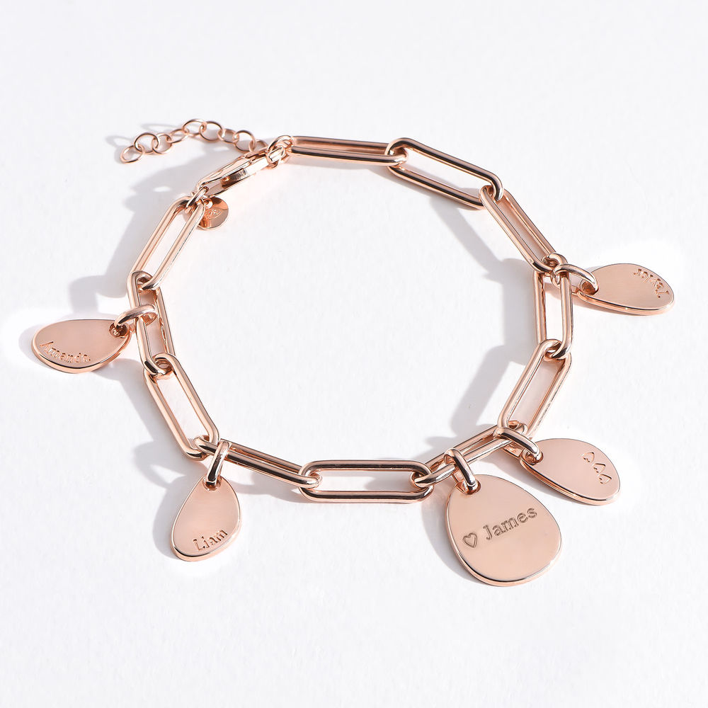 Hazel Personalized Paperclip Chain Link Bracelet  with Engraved Charms in 18K Rose Gold Plating - 4