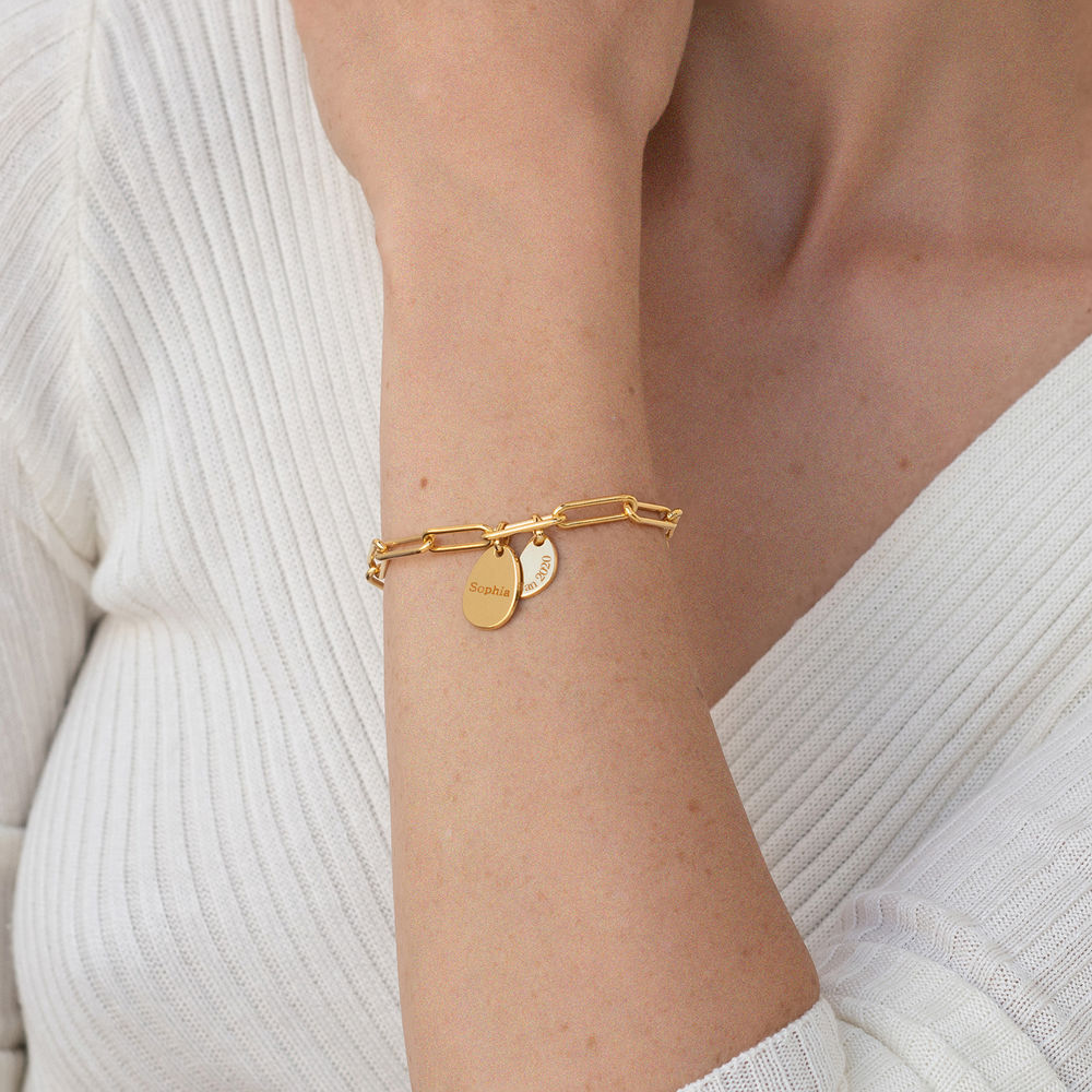 Hazel Personalized Chain Link Bracelet  with Engraved Charms in 18K Gold Vermeil - 2