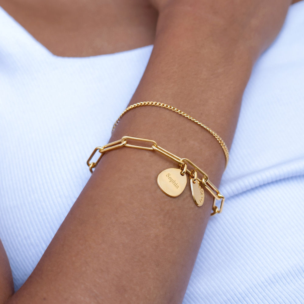 Hazel Personalized Paperclip Chain Link Bracelet  with Engraved Charms in 18K Gold Vermeil - 3