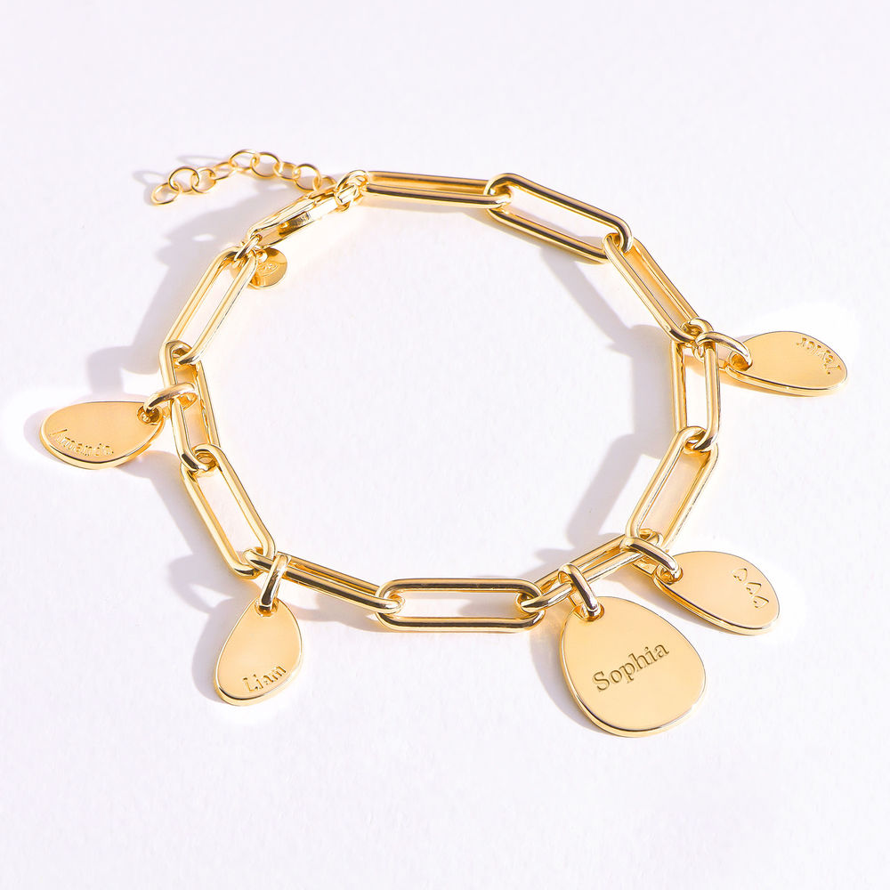 Hazel Personalized Paperclip Chain Link Bracelet  with Engraved Charms in 18K Gold Vermeil - 4
