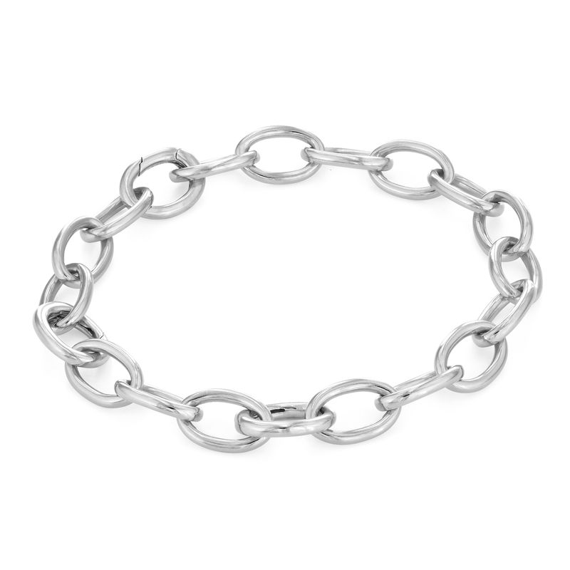 Round Chain Link Bracelet in Sterling Silver