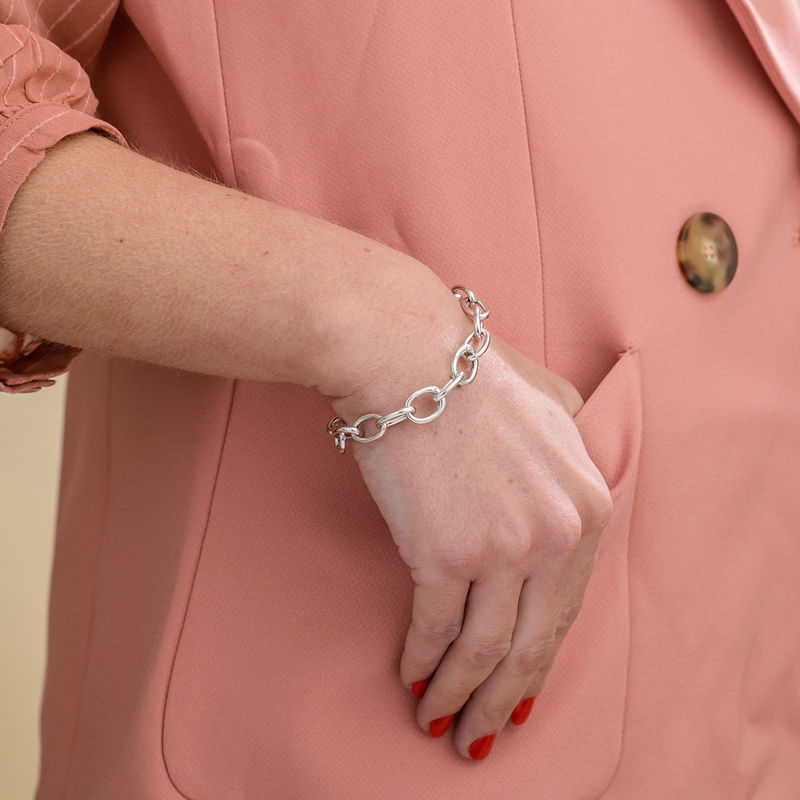 Round Chain Link Bracelet in Sterling Silver - 2