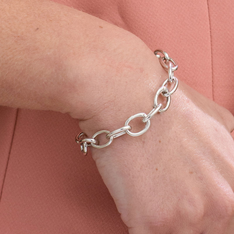 Round Chain Link Bracelet in Sterling Silver - 3