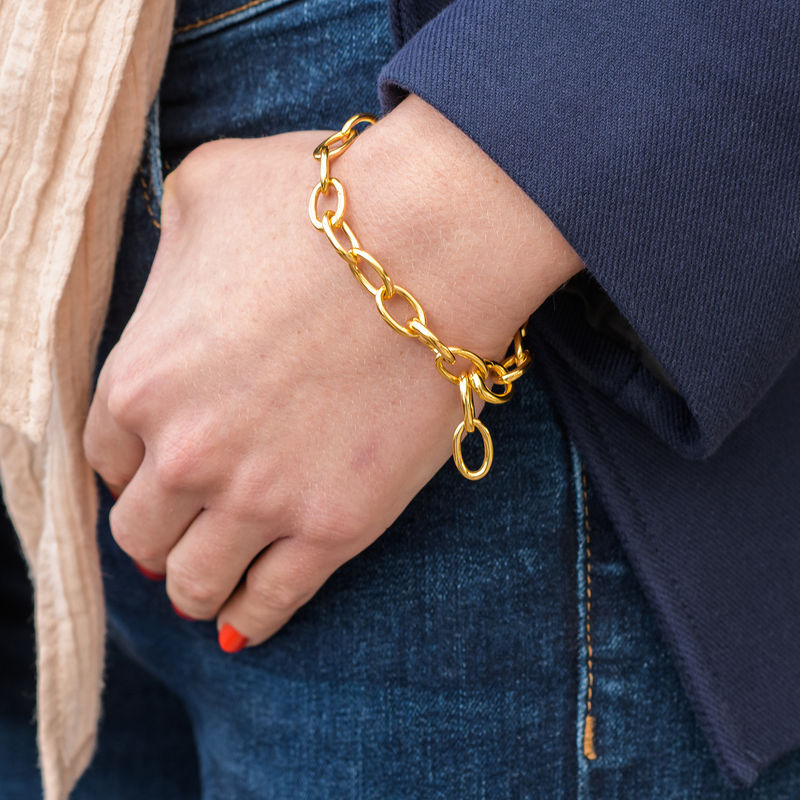 Round Chain Link Bracelet in 18K Gold Plating - 2