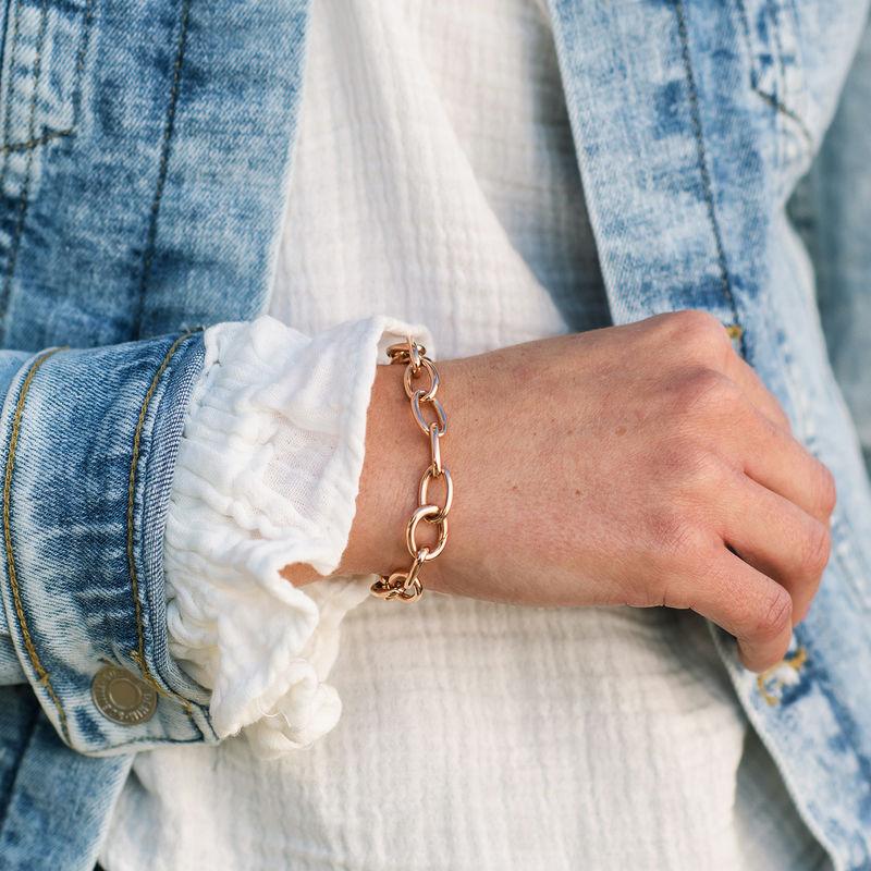 Round Chain Link Bracelet in 18K Rose Gold Plating - 2