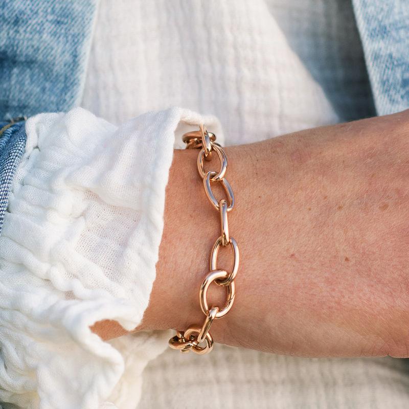 Round Chain Link Bracelet in 18K Rose Gold Plating - 3