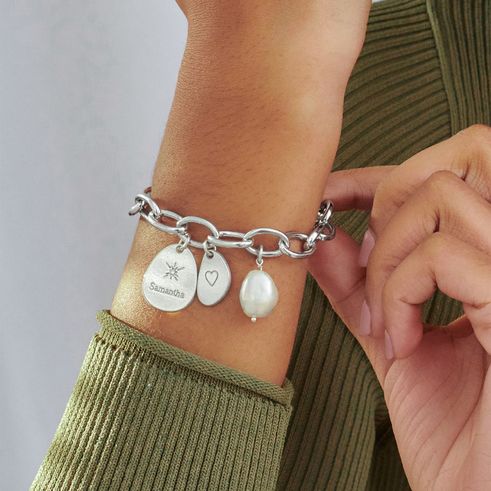 Personalized Round Chain Link Bracelet with Engraved Charms in Sterling Silver - 3