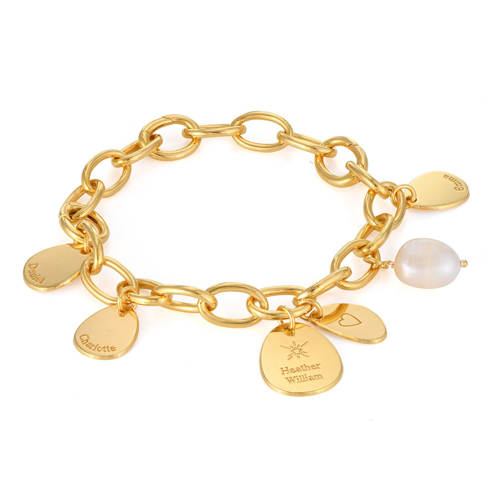 Personalized Round Chain Link Bracelet with Engraved Charms in 18K Gold Plating