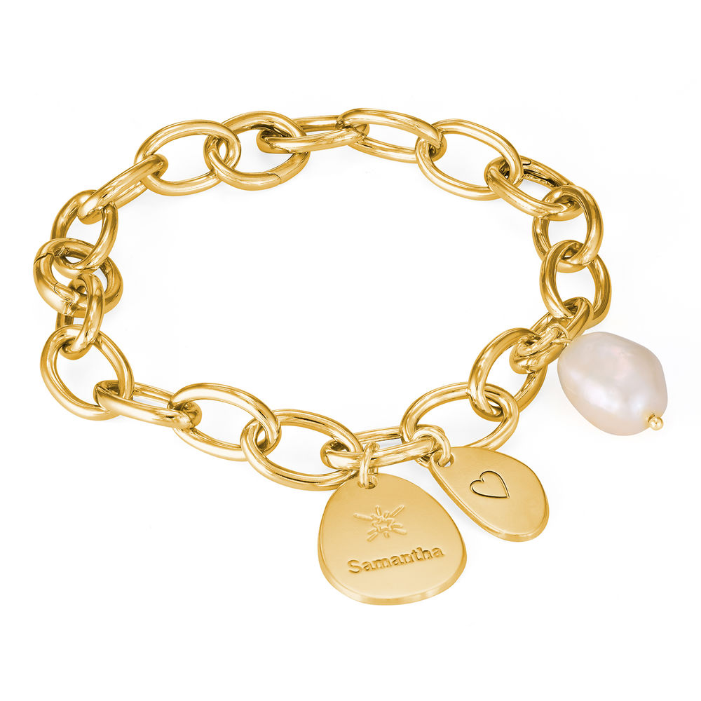 Personalized Round Chain Link Bracelet with Engraved Charms in 18K Gold Plating - 1