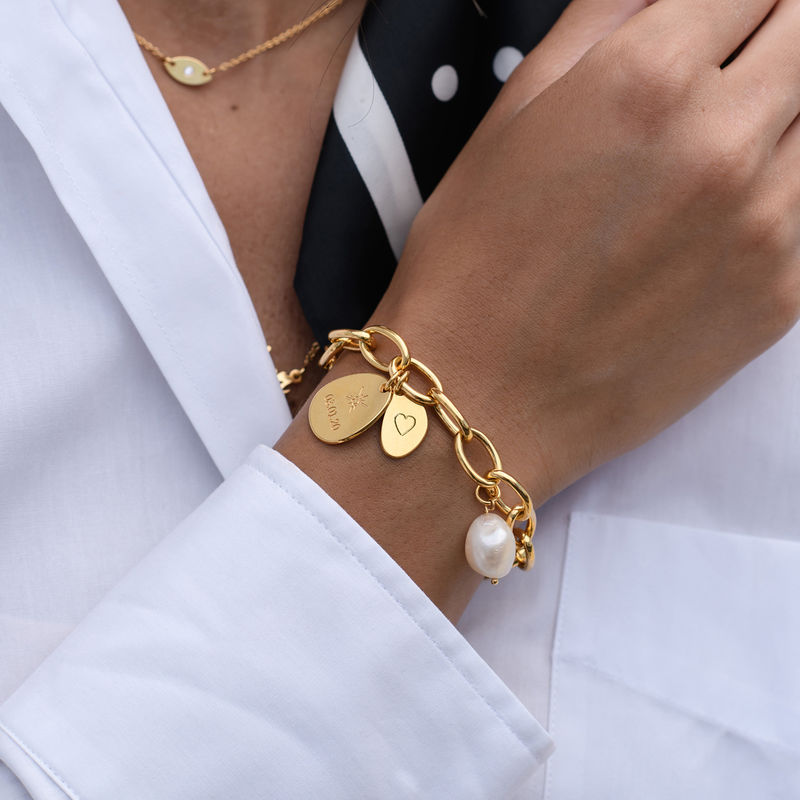 Personalized Round Chain Link Bracelet with Engraved Charms in 18K Gold Plating - 2