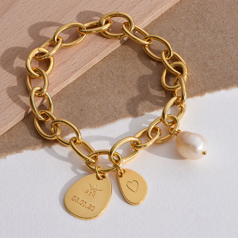 Personalized Round Chain Link Bracelet with Engraved Charms in 18K Gold Plating - 3