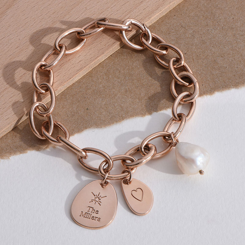 Personalized Round Chain Link Bracelet with Engraved Charms in 18K Rose Gold Plating - 3