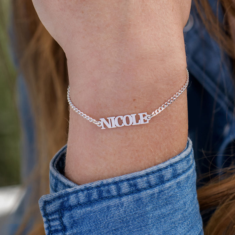 Name Bracelet / Anklet with Capital Letters in Sterling Silver - 1