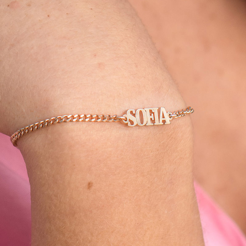 Name Bracelet / Anklet with Capital Letters in 18K Rose Gold Plating - 2