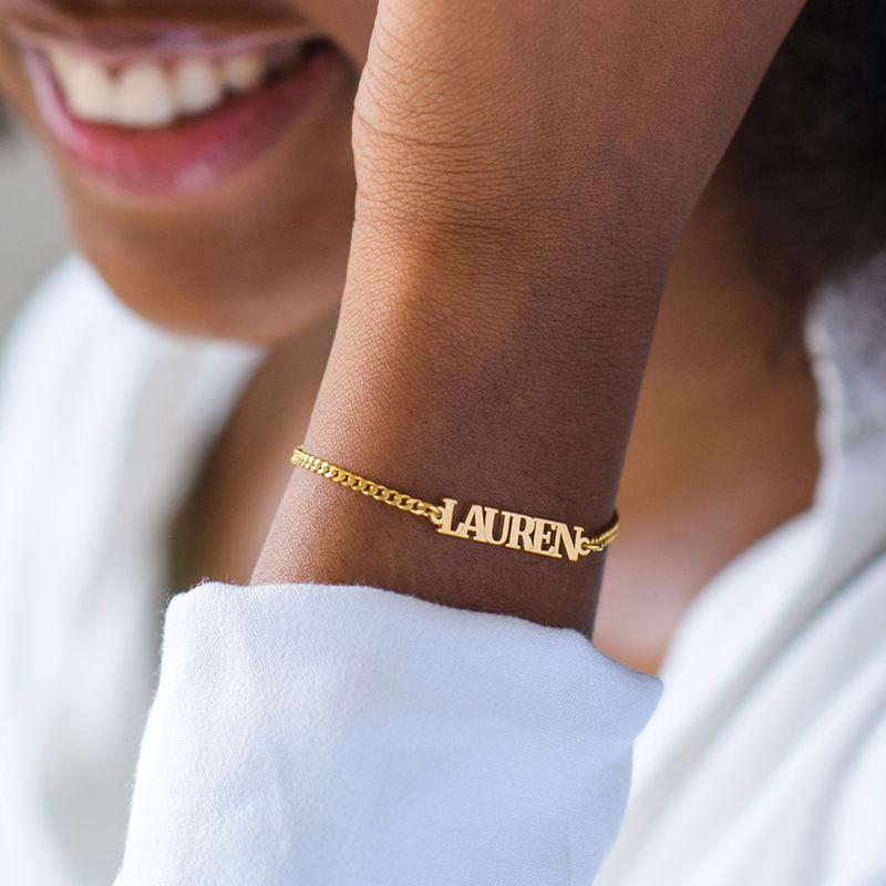 Name Bracelet / Anklet with Capital Letters in 18K Gold Vermeil - 3