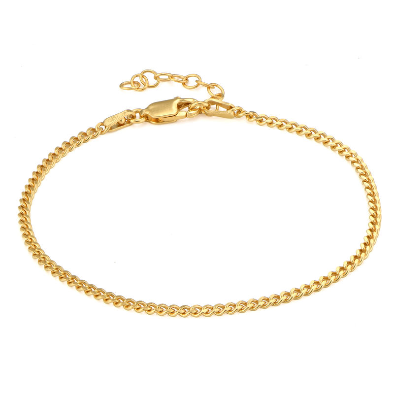 Tiny Cuban Chain Bracelet in 18K Gold Plating