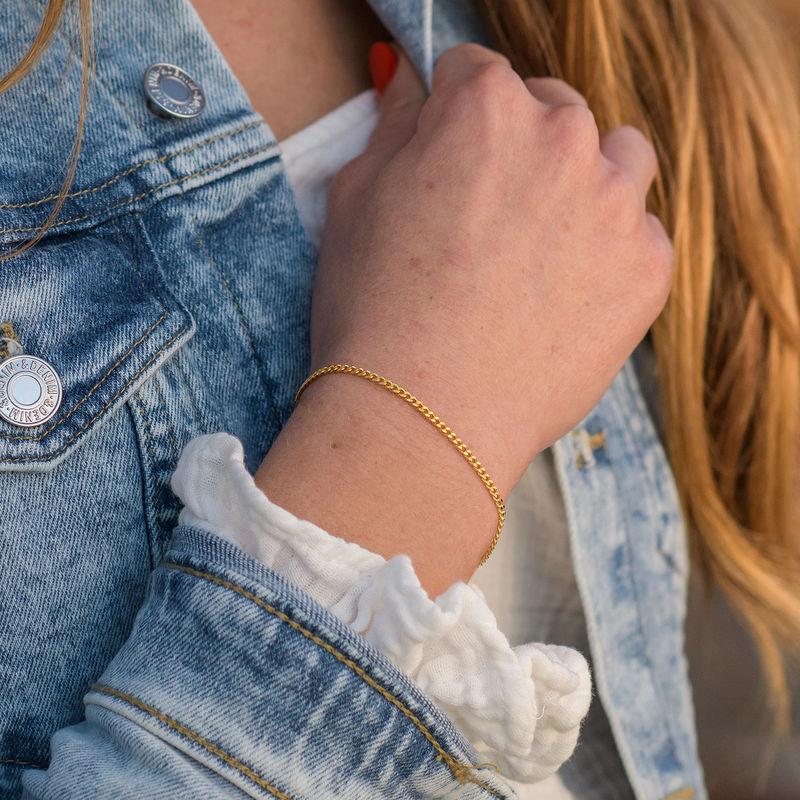 Tiny Cuban Chain Bracelet in 18K Gold Vermeil - 2
