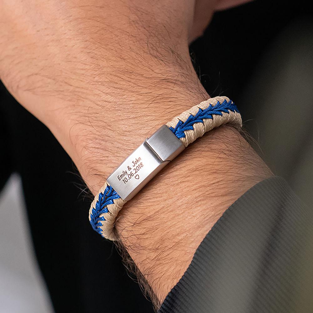 Men Flat Beige Leather Braided Bracelet - 1