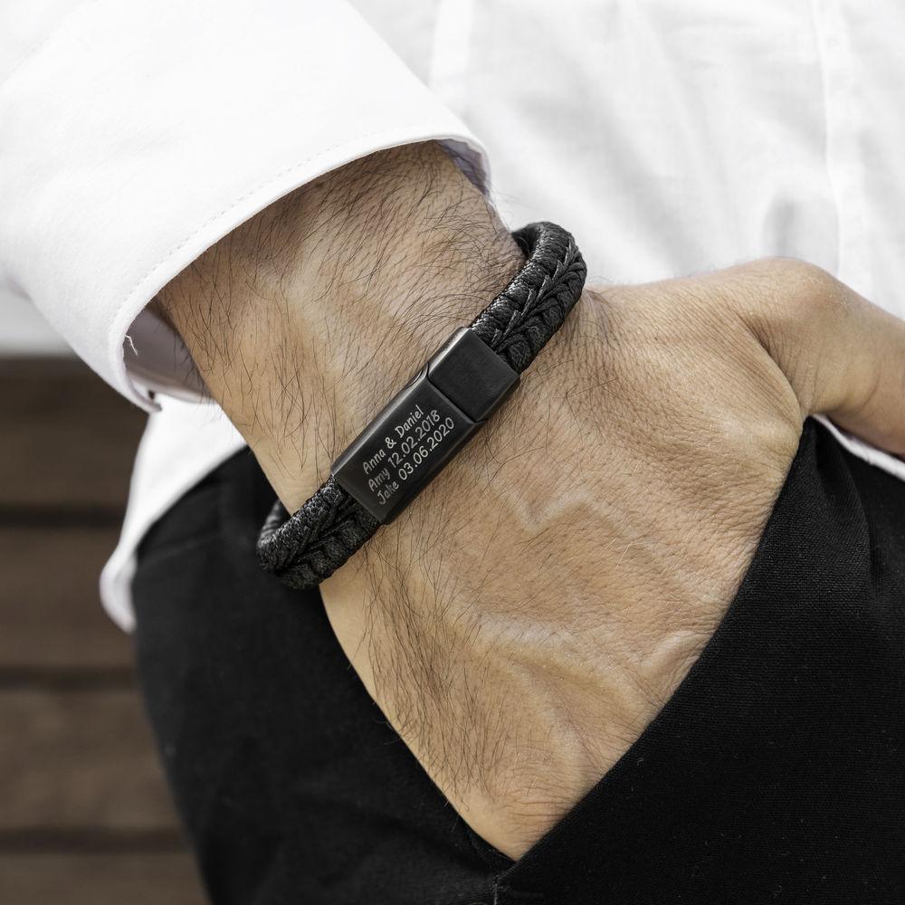 Men Flat Black Leather Braided Bracelet - 1