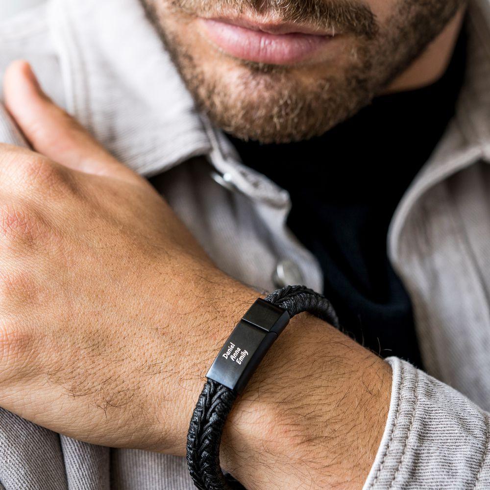 Men Flat Black Leather Braided Bracelet - 3