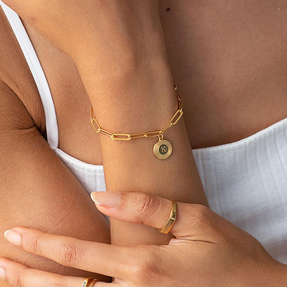 Odeion Initial Link Chain Bracelet / Anklet in 18k Gold Plating - 1