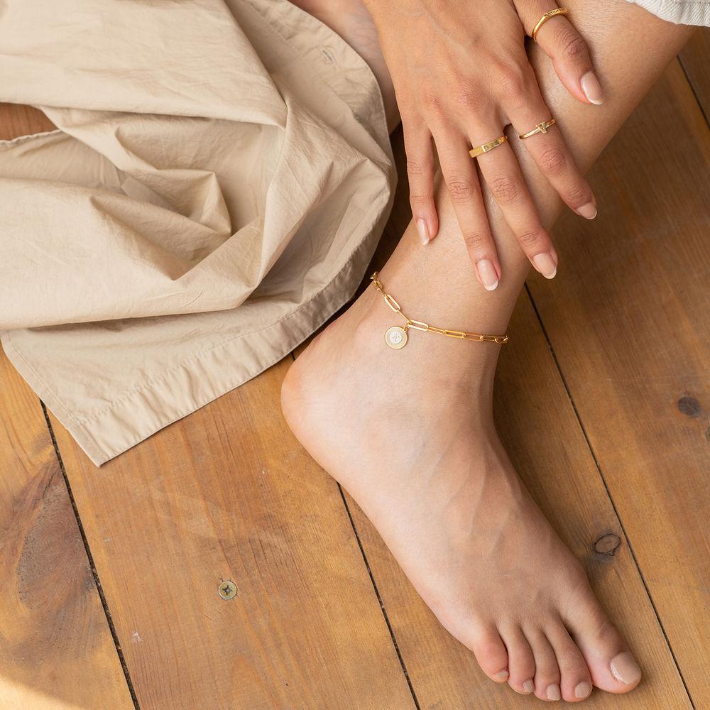 Odeion Initial Link Chain Bracelet / Anklet in 18k Gold Plating - 2