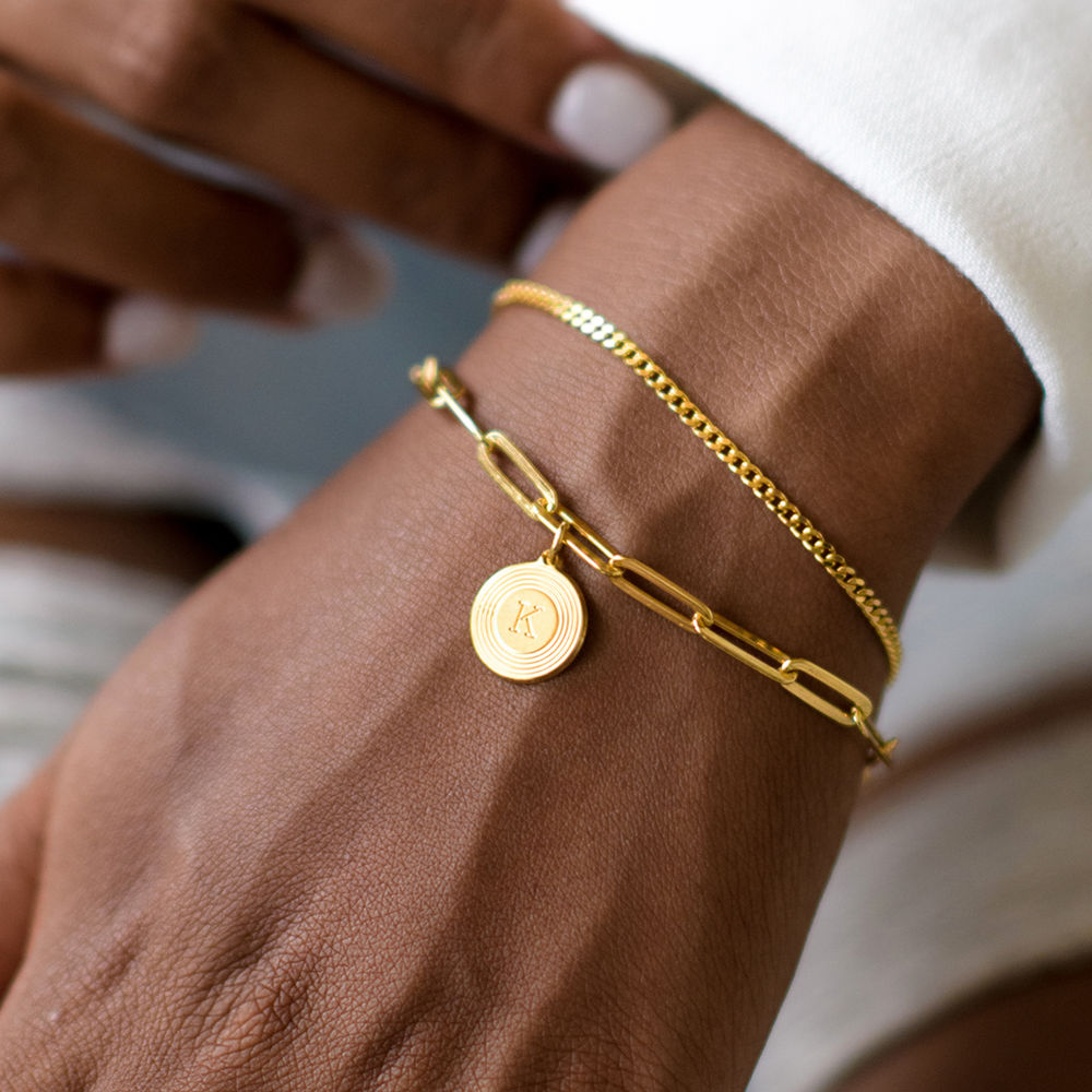 Odeion Initial Link Chain Bracelet / Anklet in Vermeil - 4