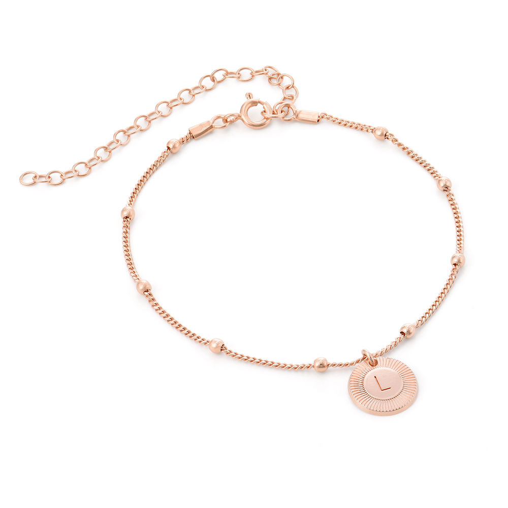 Mini Rayos Initial Bracelet / Anklet in 18k Rose Gold Plating