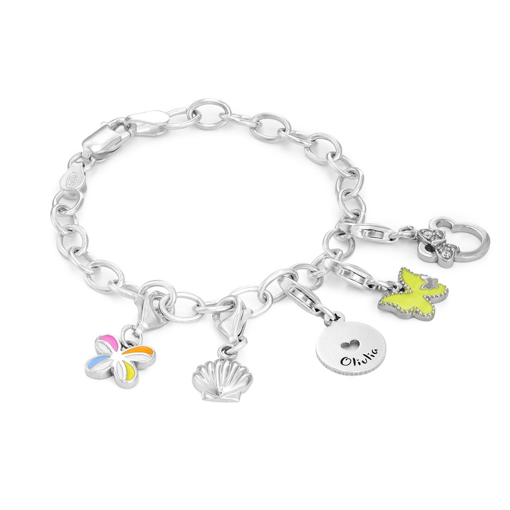 Link Charm Bracelet for Girls in Sterling Silver