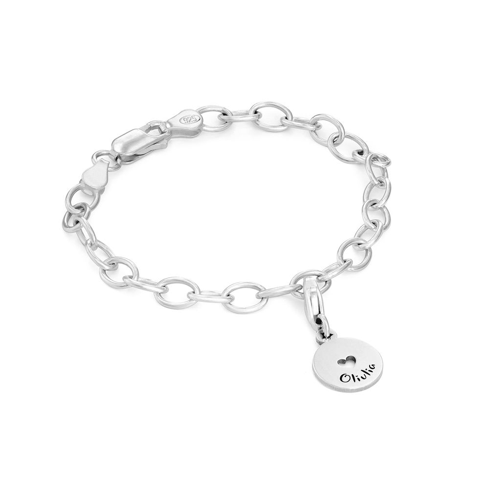 Link Charm Bracelet for Girls in Sterling Silver - 1