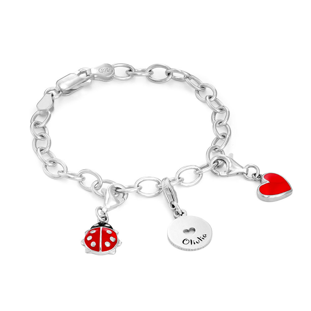 Link Charm Bracelet for Girls in Sterling Silver - 2