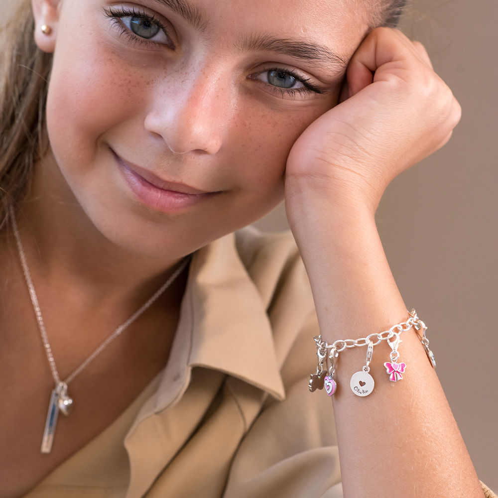 Link Charm Bracelet for Girls in Sterling Silver - 3