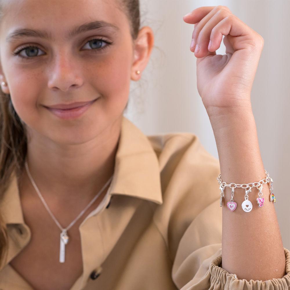 Link Charm Bracelet for Girls in Sterling Silver - 4