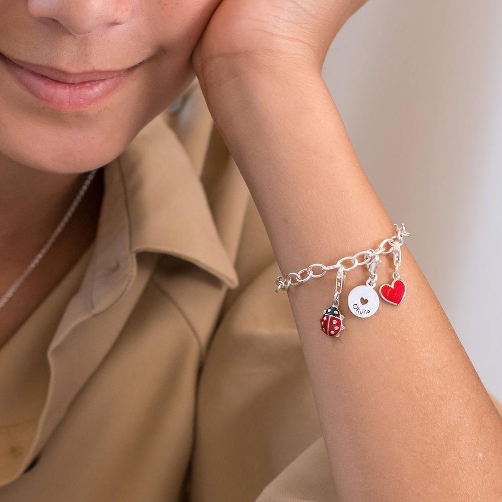 Link Charm Bracelet for Girls in Sterling Silver - 5