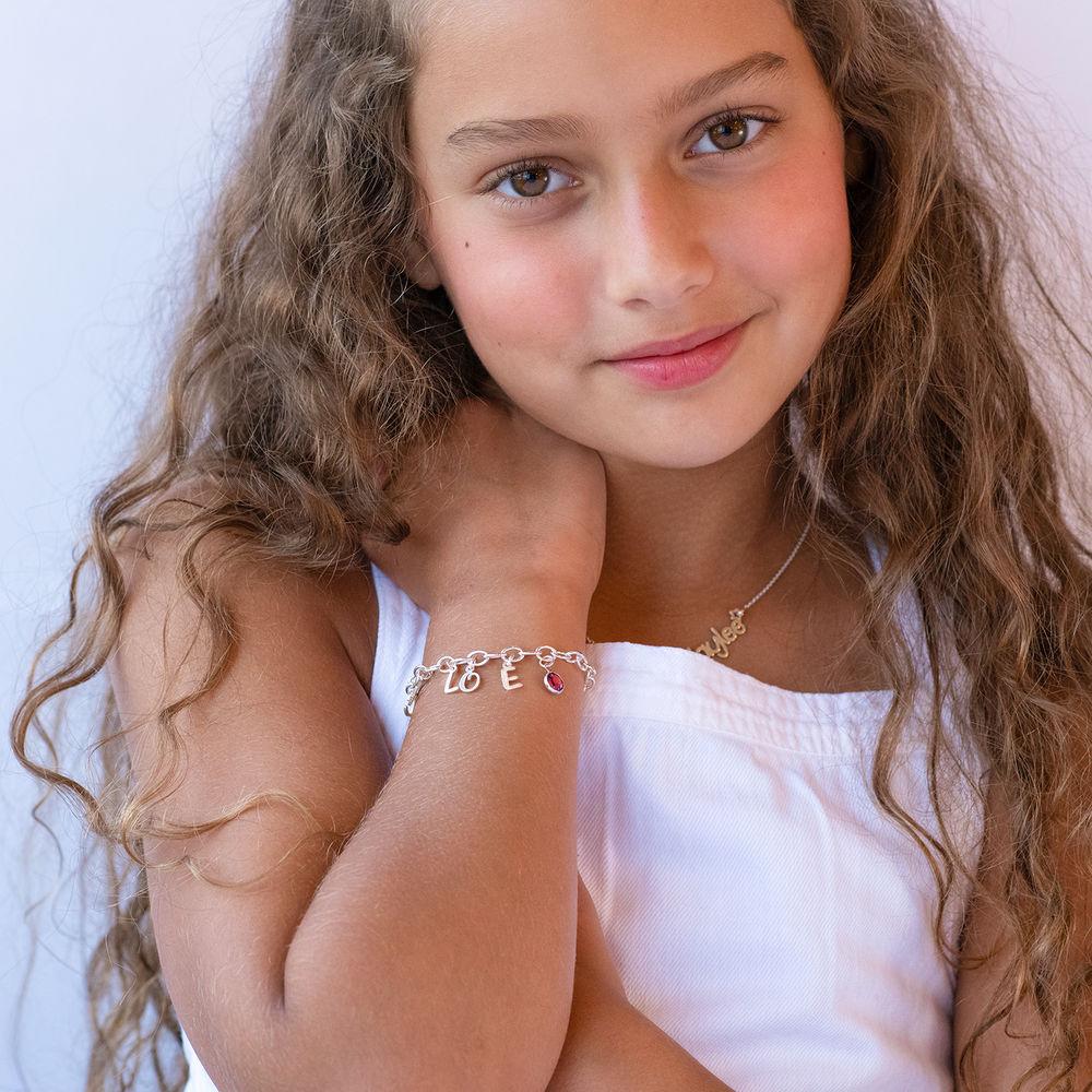 Letter Charm Bracelet for Girls in Sterling Silver - 2