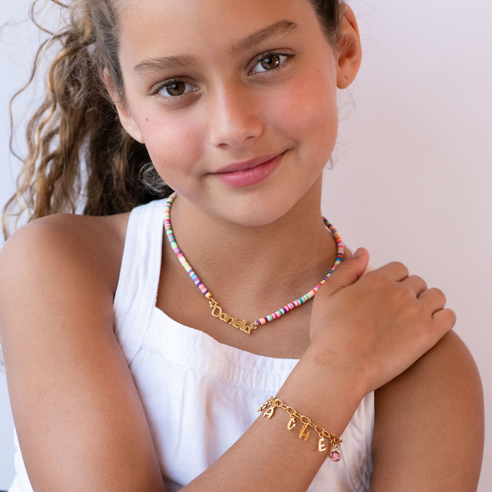 Letter Charm Bracelet for Girls in Gold Plating - 2