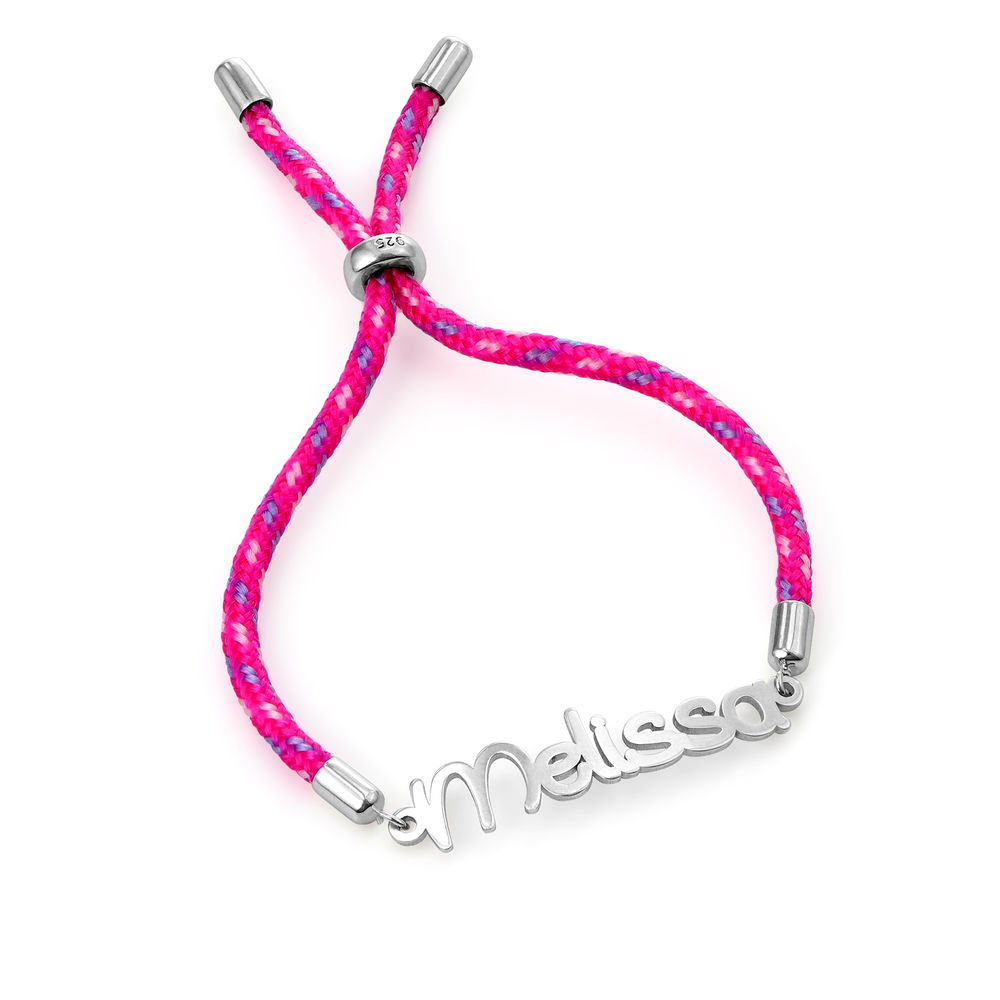 Name Cord Bracelet for Kids in Sterling Silver - 2