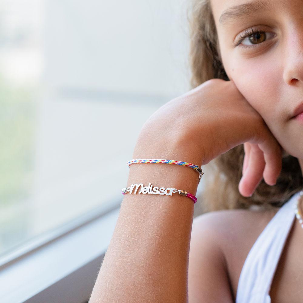 Name Cord Bracelet for Kids in Sterling Silver - 3